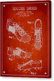 Soccershoe Patent From 1980 Acrylic Print by Aged Pixel