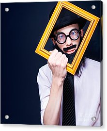 Social Media Man Resizing His Profile Picture Acrylic Print