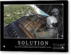 Solution Inspirational Quote Acrylic Print by Stocktrek Images