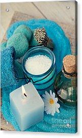 Spa Setting With Bath Salt  Acrylic Print by Mythja  Photography