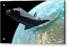 Space Shuttle Above Earth Acrylic Print by Sciepro