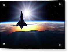 Space Shuttle In Orbit Acrylic Print by Detlev Van Ravenswaay