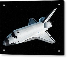 Space Shuttle In Space Acrylic Print by Sciepro