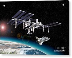 Space Station In Orbit Around Earth Acrylic Print by Leonello Calvetti