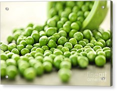 Spilled Bowl Of Green Peas Acrylic Print