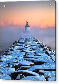 Spring Point Ledge Sea Smoke Acrylic Print