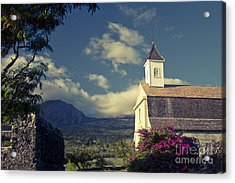 St. Joseph Catholic Church Kaupo Maui Hawaii Acrylic Print by Sharon Mau