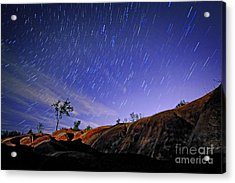 Star Trails Over Badlands Acrylic Print by Charline Xia