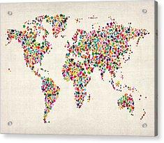 Stars Map Of The World Map Acrylic Print