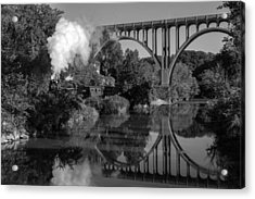 Steam In The Valley Nkp 765 Black And White Acrylic Print