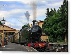 Steam Locomotive 4270 Arrives At Toddington Station Acrylic Print by Louise Heusinkveld