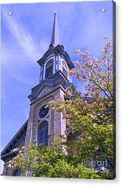Acrylic Print featuring the photograph Steeple Church Arch Windows 1 by Becky Lupe