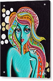 Acrylic Print featuring the painting Stephanie Groovy Chick Detail by Joseph Sonday