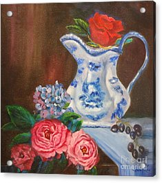 Still Life With Blue And White Pitcher Acrylic Print
