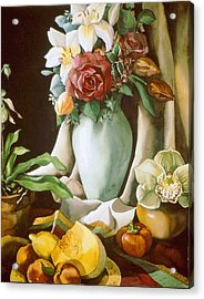 Still Life With Melon Acrylic Print by Alfred Ng