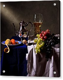 Acrylic Print featuring the photograph Still Life With Roemer And Silver Tea Pot by Levin Rodriguez