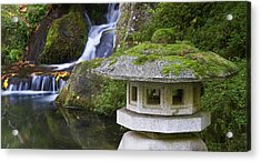 Stone Lantern And Heavenly Falls Acrylic Print by William Sutton