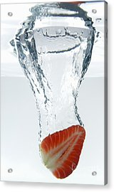 Strawberry Fruit Splashing Underwater Acrylic Print by Sami Sarkis
