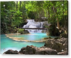 Stream With Waterfall In Tropical Forest Acrylic Print