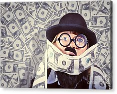 Stressed Business Man Drowning In Financial Debt Acrylic Print by Jorgo Photography - Wall Art Gallery