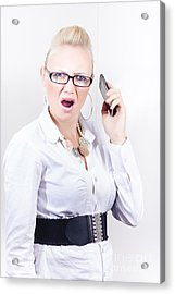 Stressed Employee Communicating In Workplace Acrylic Print by Jorgo Photography - Wall Art Gallery
