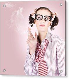 Stressed Geeky Office Worker On Smoke Break Acrylic Print by Jorgo Photography - Wall Art Gallery
