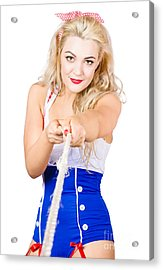 Strong Navy Pinup Girl Roping In Anchor Line Acrylic Print