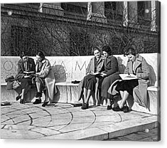 Students Study At Columbia Acrylic Print by Underwood Archives
