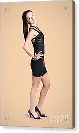 Studio Portrait. Fall Fashion Woman In Black Dress Acrylic Print