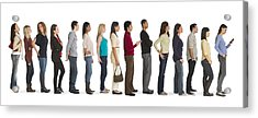 Studio Shot Of People Waiting In Line Acrylic Print by Tetra Images