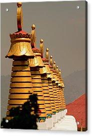 Stupas In A Buddhist Monastery Acrylic Print by Jaina Mishra