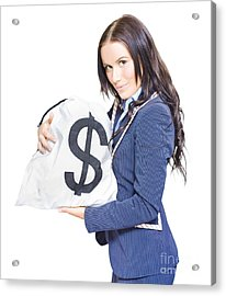 Successful Business Woman Holding Bags Of Money Acrylic Print