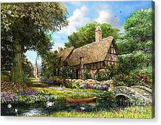 Summer Country Cottage Acrylic Print by Dominic Davison