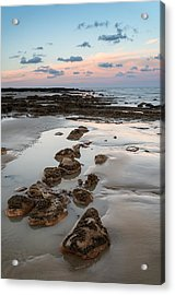 Summer Landscape With Rocks On Beach During Late Evening And Low Acrylic Print by Matthew Gibson