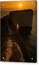 Sunrise At Old Harry Rocks Acrylic Print