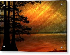 Acrylic Print featuring the digital art Sunrise At Reelfoot Lake by J Larry Walker