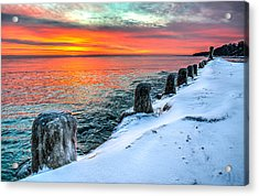 Sunrise North Of Chicago Lake Michigan 1-18-14 Acrylic Print by Michael  Bennett