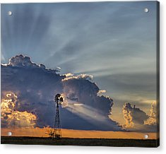 Sunset And Windmill Acrylic Print