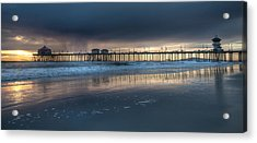 Approaching Storm Huntington Beach Pier Acrylic Print by Cliff Wassmann