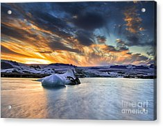 sunset at Jokulsarlon iceland Acrylic Print