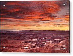 Sunset At The Green River Overlook Acrylic Print by Roman Kurywczak