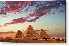 Sunset At The Pyramids, Giza, Cairo Acrylic Print by Nick Brundle Photography