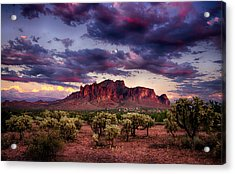 Sunset At The Superstitions  Acrylic Print by Saija  Lehtonen