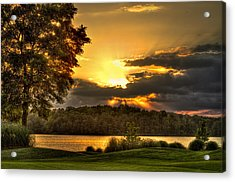 Sunset Golf Hole Lake Oconee Acrylic Print by Reid Callaway