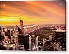 Sunset Over Central Park And The New York City Skyline Acrylic Print by Vivienne Gucwa