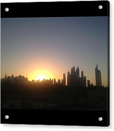 Sunset Over Dubai Feb 2013 Acrylic Print by Maeve O Connell