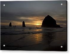 Sunset Over Haystack Rock In Cannon Beach Acrylic Print by David Gn