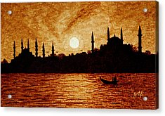 Sunset Over Istanbul Original Coffee Painting Acrylic Print by Georgeta  Blanaru