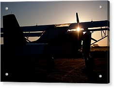Sunset Plane Acrylic Print by Paul Job