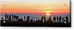 Sunset Tourism On Haleakala Acrylic Print by Babak Tafreshi